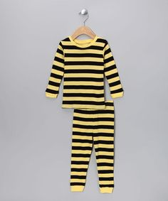 Take a look at this Black & Lemon Stripe Pajama Set - Infant, Toddler & Kids by Leveret on #zulily today!