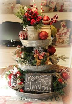 Christmas Galvanized Tray Centerpiece - Link for image source is noted in article.