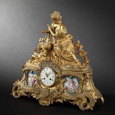 ❤ - Gilt bronze mantle clock with porcelain plating, Napoleon III Period