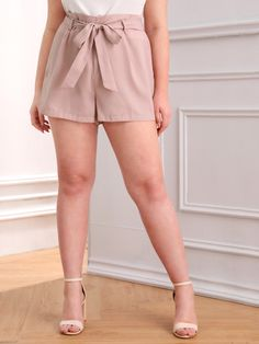 Plus Solid Belted Shorts