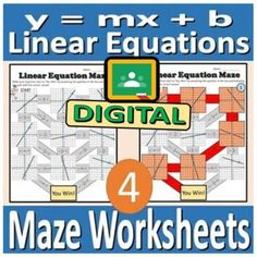 Digital Maze Worksheets - Linear Equations by Rethink Math Teacher