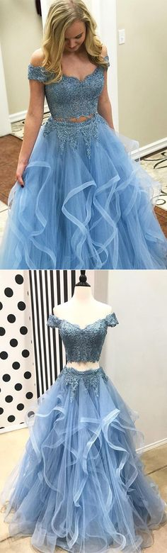 Two Pieces Light Blue Tulle Long Prom Dress#fashionpromdress#lightblueeveningdress#eveningdresses#partydress#formaldress#promdress2018