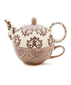 Paisley Heart Tea-for-One Set