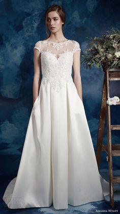 amanda wyatt bridal 2017 cap sleeves sweetheart illusion jewel a line wedding dress (wren) mv pockets train romantic