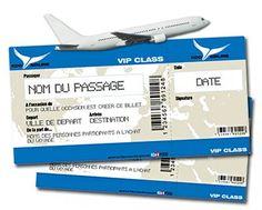 Billet d'avion personnalisé - Cadeau Personnalisé et idée cadeau Original.