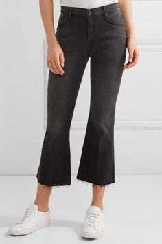 Mother - The Nomad Cropped Mid-rise Flared Jeans - Black - 28