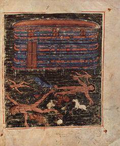"""Le mythe du Déluge & l'Arche de Noé - """"Pentateuque d'Ashburnham"""", folio 009r - Bibliothèque nationale de Paris."""