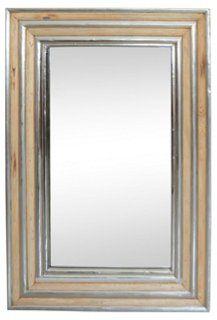 Afton Wood & Metal Wall Mirror, Natural