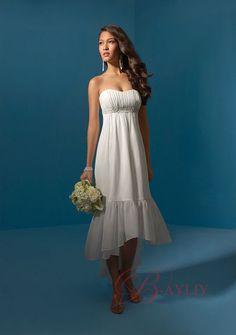 western wedding dresses | Tea-Length Handbeading Western Wedding Dress A-line Strapless Chiffon ...