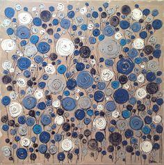 TABLEAU PEINTURE fleurs bleu abstrait design - Fleurs bleues - grand format