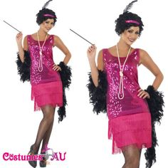 K70 Ladies 20s Flapper Gatsby Costume 1920s Charleston Fancy Dress Party Outfit