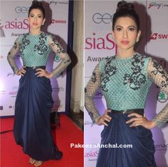 Gauhar Khan in Blue Kartikeya Gown at The Asian SPA Awards 2016-PakeezaAnchal.com