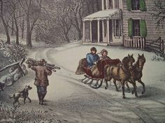 1952 Currier and Ives American Homestead Winter Print - Vintage Americana Folk…                                                                                                                                                                                 More