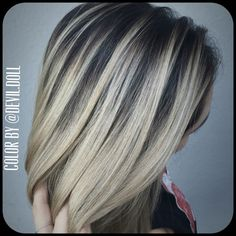 Blonde with stretched root. Hair painting