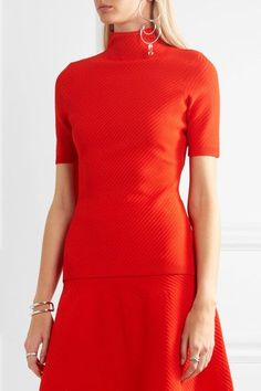 Victoria Beckham - Ribbed Pointelle-knit Turtleneck Top - Tomato red -