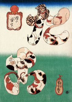 Cat Letters: Octopus (Neko no ateji: Tako) - Kuniyoshi  猫の当字  たこ