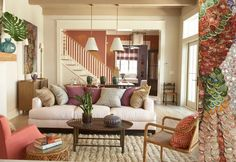 Angie Hranowsky, boho interiors, living room.  red coral and green