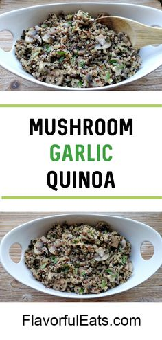 Mushroom Garlic Quinoa makes an amazing side dish or excellent vegetarian meal thats loaded with sauteed garlic mushrooms and healthy quinoa! Garlic Mushrooms, Stuffed Mushrooms, Meat Recipes, Healthy Recipes, Salad Recipes, Vegetarian Meal, Recipes From Heaven, How To Cook Quinoa, Vegetable Side Dishes