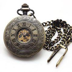 Antique Design Men's Hunter Pocket Watches Stainless Skeleton Mechanical Watch Gentlemen Accessories