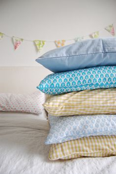 stack of blue and brown, with bunting on the side.