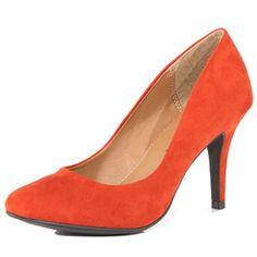 Orange suedette court shoes