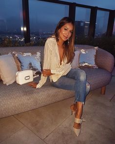 """JULIE SARIÑANA on Instagram: """"Such a beautiful rooftop night with @rogervivier wearing their adorable Strass Buckle heels. #RogerVivier #ohmyvivier"""""""