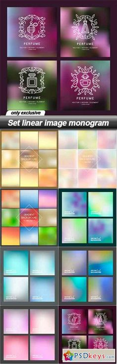 Set linear image monogram - 8 EPS