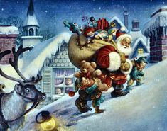 Oil Painting Santa - paintings for sale,cheap oil paintings supply Merry Christmas, Christmas Scenes, Father Christmas, Christmas Pictures, Vintage Christmas, Christmas Time, Christmas Cover, Xmas, Santa Paintings