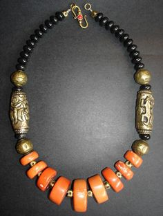 Coral, Onyx and Tibetan Brass Necklace