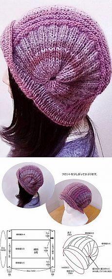 Оригинальная шапка спицами
