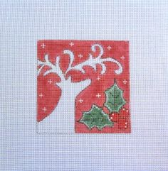 18 or 13 Count Mesh White Deer on Red w/Holly  Handpainted Needlepoint Canvas #Handmade