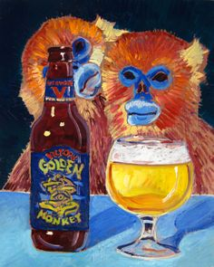 Beer Painting of Golden Monkey Belgian Style Tripel by Victory Brewing Co. in Pennsylvania. Year of Beer Paintings - Day Victory Brewing, Beer Decorations, Craft Beer Gifts, East Coasters, Bee Painting, Skyline Painting, Beer Art, Belgian Style, Belgian Beer