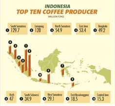 Indonesia Top 10 Coffee Place of Production! Coffee Infographic, Coffee Places, Coffee Tasting, Uganda, Espresso, Beverages, Beans, Organic, Drink