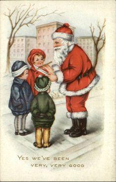 CHRISTMAS City Children Talk to Santa Claus as He Makes List c1910 Postcard