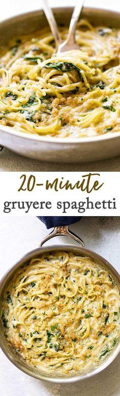 Creamy Gruyere Spaghetti for Two via @april7116