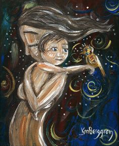 Enlightened - Archival 12x12 signed Motherhood print from an acrylic painting by Katie M. Berggren