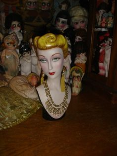 Style Vintage Mannequin tête comptoir Hat bijoux Display