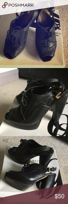 Selling this Black lace up leather open toe booties on Poshmark! My username is: arksweet. #shopmycloset #poshmark #fashion #shopping #style #forsale #Nine West #Shoes