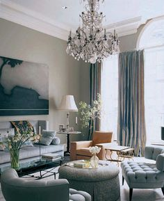 fox nahem interior design - Stanford White Townhouse. Traditional living room. Like the greyish blue colors.