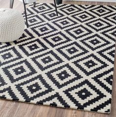 Obadiah Hand-Tufted Wool Black Area Rug Kelly Black & Cream Geometric Wool Hand-Tufted Area Rug The post Obadiah Hand-Tufted Wool Black Area Rug appeared first on Toddlers Ideas. Teen Playroom, Toddler Playroom, Playroom Ideas, Black Rug, White Rug, Rug Under Bed, Rope Rug, Cream Area Rug, Contemporary Area Rugs