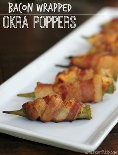 Farmland Bacon Coupon - Make My Bacon Wrapped Okra Poppers! Okra Recipes, Cooking Recipes, Game Recipes, Grilling Recipes, Cooking Okra, Keto Recipes, Barbecue Recipes, Healthy Recipes, Bacon Recipes