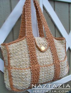 Free Pattern - Crochet Beaded Tote Bag  Looks like it would make a nice diaper bag