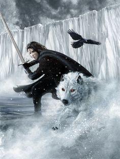 Jon Snow and Ghost.