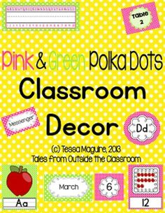 Classroom Decor- Pink and Lime Green with Polka Dots