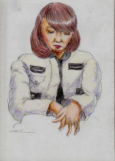 白い革のジャンパーのお姉さんです  It is a sketch of a woman wearing a jumper of white leather.  I drew on the train going to work.