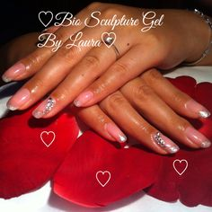 Bio Sculpture glitter French with Swarovski bling . Bride to be :) Bio Sculpture Gel Nails, Creative Inspiration, Swarovski, Bling, Glitter, French, Jewel, French People, French Language