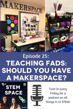 Makerspaces! They are popping up in schools, libraries, and beyond. Maybe you even have one in your classroom (I do!). But are makerspaces just a teaching fad or is it an effective tool for teaching STEM? Listen to our discussion about their definition, purpose, design, and more as we weigh in on this popular trend! Math Games For Kids, Fun Math Activities, Tools For Teaching, Teaching Science, Middle School Libraries, Math Stem, High School Classroom, Project Based Learning, Media Center