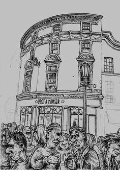 STALL SKETCH Bath BA1 1QH, UK 51.381469, -2.360392 Big Ben, Cartoons, Sketch, Scene, Paintings, Bath, Street, Drawings, Animated Cartoons