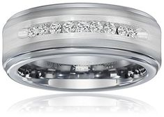 Triton Men's Tungsten and Silver 8mm Comfort Fit Diamond Wedding Band (1/4cttw I-J Color) Size 9