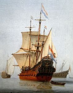 Museum of Fine Arts, Budapest Willem van de Velde the Younger (1633-1707) - Calm sea with Dutch flagship, 1653 : detail